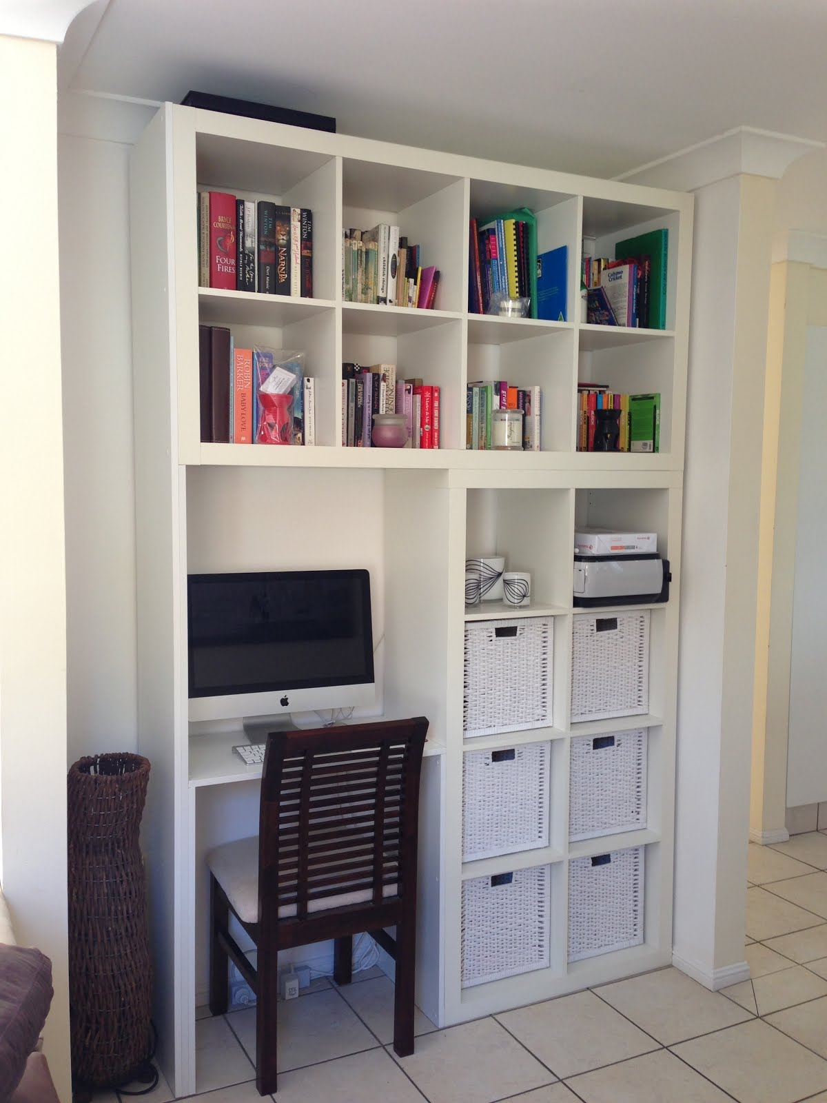 White Wall Shelving Unit With Computer Desk And Chair A Lot Of Book Collections