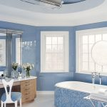 winning blue bathroom with elegant mosaic bathtun and ravishing fabric cahir and wonderful marble topn in laminate flooring