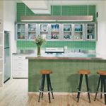wonderful nice adorable creative awesome acrylic backsplash  with small tile wall concept in green coloring design for modern kitchen