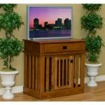 wood-finishing dog crate with top drawer night-view of town picture on blue frame twin decorative plants on beautiful pots wood planks-laminated floors