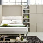 Adorable Coolest Nice Single Large Fold Up Wall Bed With Wall Bed And Sofa Concept In White Coloring And Built In Cabiner Concept