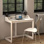 Adorable Nice Coolest Office Modern White Desk For Small Home Office With White Chairs And Wooden Floor Modern Desks For Small Spaces