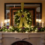 adorable-nice-decorative-creative-christmas-decoration-for-mantel-with-green-leaves-concept-with-many-lights-decoration