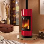 adorable-nice-wonderful-cool-wood-burning-stove-with-modern-free-standing-stoves-concept-with-red-coloring-round-shape-with-long-ceiling-chimney