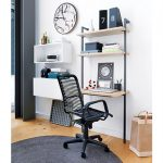Adorable Simple Tiny Cooles Modern Desks For Small Spaces With Iron Frame In Black With Small Surface With Black Modern Chair