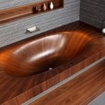 amazing-nice-cool-classic-great-colored-bathtub-with-Cozy-Wooden-Bathtubs-Design-made-of-granite-with-small-design-with-grey-floor-and-wall