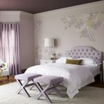beautiful-calm-modern-teen-room-ideas-with-fancy-bed-combined-white-mattress-and-pillows-also-blanket-incorporates-tufted-button-head-board-attached-on-floral-wall-papers-featuring-purple-ottoman-728x544