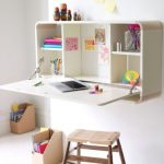 Beautiful Nice Adorable Coolest Desk For Small Space With Foldable Concept Made Of Wood With Compact Surface With Storage Design