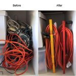 before and after the electric wires  are rolled and organized into cable storage