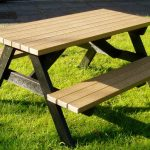 casual picnic table in modular shape with two benches