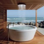 Cool Traditional Nice Amazing Elegant Japanese Soaking Tub Models For Relaxationx With White Plastic Made With Mounted Shower And Wooden Homes Concept Design