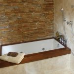 corner tub with wood frame for small bathroom red bricks wall system shower appliance