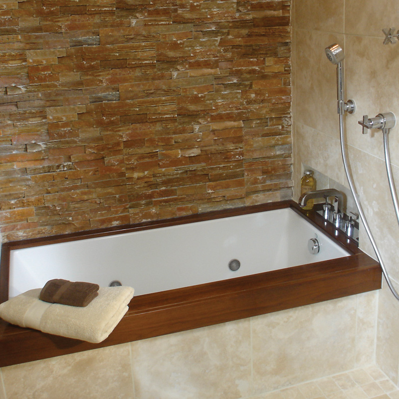 Corner Tub With Wood Frame For Small Bathroom Red Bricks Wall System Shower Liance