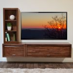Fantastic Nice Adorable Coolest Floating Media Console With Simple L Concept Made Of Wood With Nice Beside Bookshelf Design With Big Screen Tv 728x476