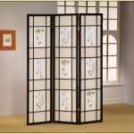 floral-theme room divider from Ikea with black wood frame