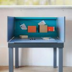 Great Nice Adorable Classic Contemporary Desk For Small Space With Multifunctional Desk For Small Living Space With Blue Coloring And Has Four Legs