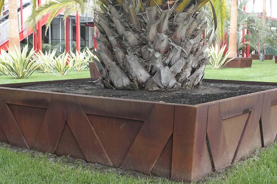 Large Concrete Palm Tree Planter Box