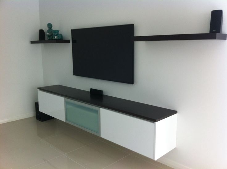 Modern Minimalist Floating Tv Console In White With Black Surface Large Flat Wood