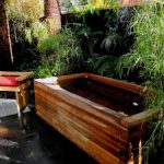 Nice Cool Amazing Outdoor Brown Wood Japanese Soaking Tub With Wood Small Chair And Red Cushion Color Elegant For Small Bathroom Japanese Soaking Tub Depth With Natural Nuance 728x546