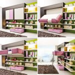 Nice Cool Lofted Adorable Sample Great Fold Up Wall Bed With Nice Room Decoration Such Bookshelf With Wonderful Stuffs And Has Green Nuance