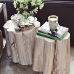 nice-cool-modern-table-diy-round-shape-cream-color-tree-stump-side-table-a-beautiful-mess-with-white-flowers-also-soft-grey-wheel-color-natural-creative-tree-stump-side-728x1020