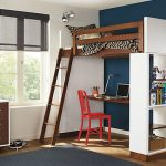nice-cool-simple-elegant-adorable-loft-bed-with-desk-design-with-Loft-bed-with-desk-underneath-with-red-chair-and-nice-bookshelf