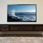 Nice Coolest Classic Adorable Dark Wood Floating Media Cabinet Console With Wooden Concept With Very Big Tv Screeen 1 728x487