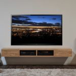 Nice Coolest Classic Adorable Dark Wood Floating Media Cabinet Console With Wooden Concept With Very Big Tv Screeen 2