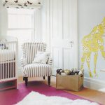 simple and small strip-patterns reading chair beautiful white pendant lamp with butterfly ornaments yellow-girrafe-picture wallpaper red carpet for solid wood flooring