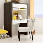 Simple Compact Creative Adorable Desk For Small Space With Tough Wood Material And Has Simple Bookshelf With Nice Chair