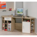 simple wood corner computer desk with shelves and under cabinets a set of flat computer screen wireless mouse and keyboard built-in single shelf with miniature of sport car and sport motorcycle