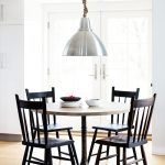 single-nice-adorable-awesome-modern-diy-pendant-light-with-large-metal-cover-design-with-nice-round-table-with-black-chairs