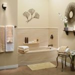 small bathroom with corner small tub mini floating shelf for storing bath supplies a small console with towel a wood floating shelf for putting decorative items wall kit for hanging towels