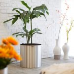 stainless steel tree planter in cylinder shape two white vases with beautiful flowers ornaments