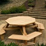 unique picnic table for outdoor with chairs made from solidwood