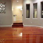 water-based epoxy painting idea that looks like glossy wood floors