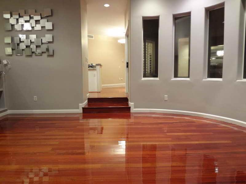 Water Based Epoxy Painting Idea That Looks Like Glossy Wood Floors