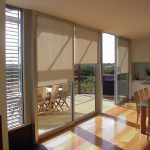 window shades in light brown color for sliding glass door solid wood floor a set of dining furniture