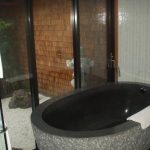 Wonderful Cool Modern Nice Collective Japanese Soaking Tub With Dark Grey Coloring Stone Made Shape With Nice Design For Modern Homes