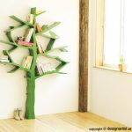 wonderful-nice-fresh-ncie-adorable-tree-shaped-bookshelf-with-green-metal-concept-with-small-design-and-many-branches