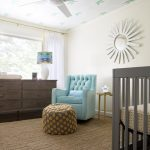 Tarnby IKEA Rug Floor In Warm Brown Color A Cute Blue Corner Chair With Beautiful Table Dark Stained Wood Credenza As The Storage A Round Decorative Mirror Like A Sunrise A White Ceiling Fan A Box Baby