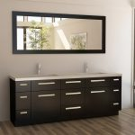 a contemporary 48 inches bathroom vanity in black with double square sinks and double bronze faucets a large decorative square mirror with black wood frame