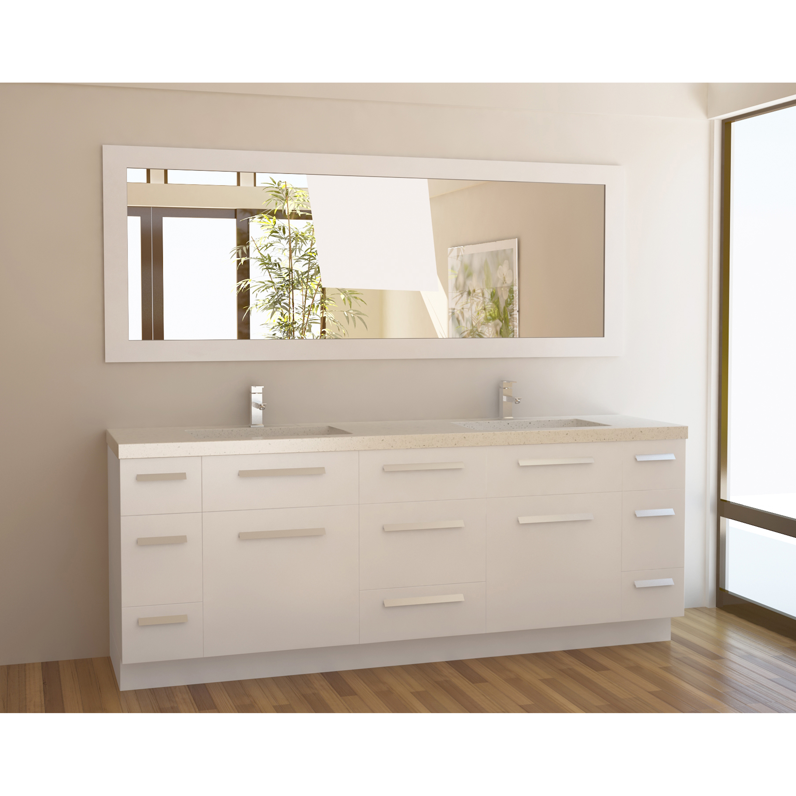 a contemporary 48 inches vanity for bathroom in white color double sinks and double stainless steel faucets a decorative mirror with white wood frame and in square shape