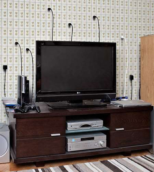 A Creative Electrical Cord Organizing Behind Tv Set Media Console With Open Shelves Flat