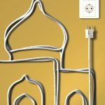 a creative mosque sketch from electrical cord
