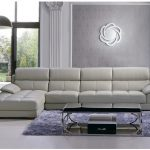 adorable dull white double chaise sectional design with stunning black sectional coffee table upon purple area rug beneath adorable wall mirror with floor to ceiling glass window