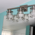adorable light blue interior with white ceiling idea and alen and roth lighting track with glass transparent shade