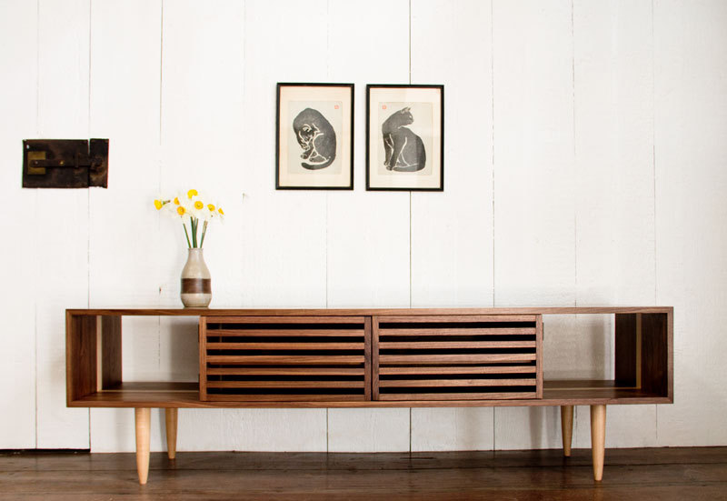 Adorable Long Wooden Media Console With Open Storage And Recessed Pattern Cabinet A Vas Of