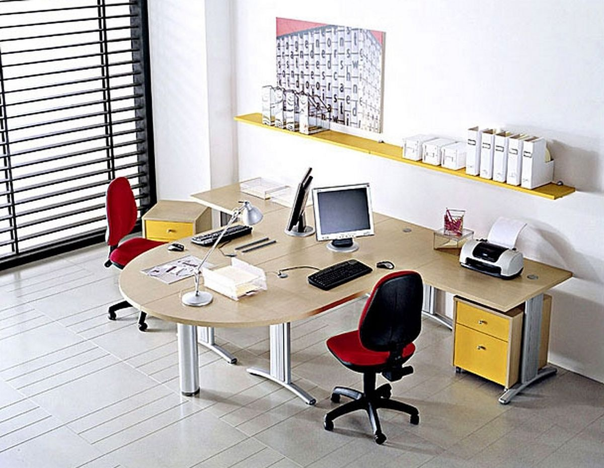 Designer Home Office Desks Adorable Creative Modern Beige Double Sided Design With Red