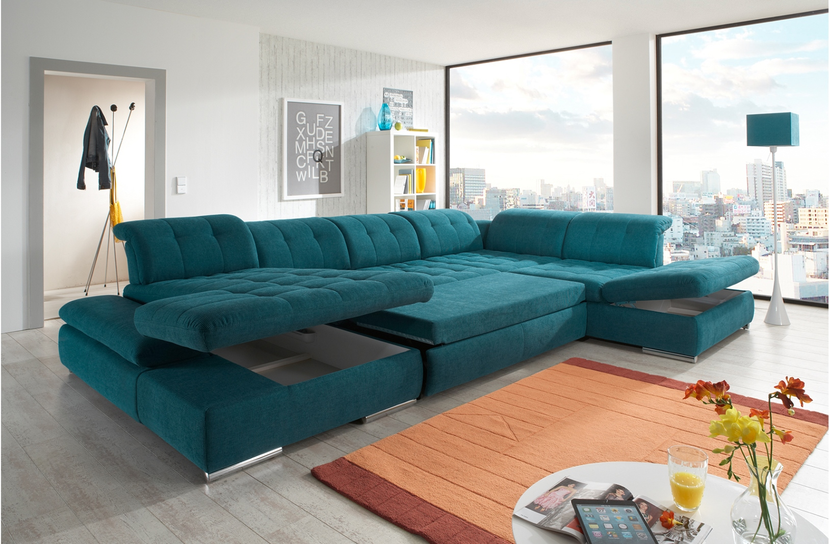 Double Chaise Sectional on Living Room With Area Rug